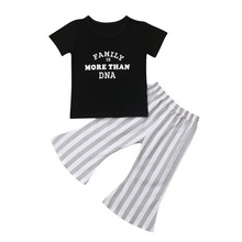 Fashion Toddler Kids Baby Girl Tops Short Sleeve T-Shirt Striped Flare Long Pants Outfits Set Clothes 2019 new fashion kids girl clothes tunic tops flare sleeve t shirts infant baby girl ripped denim pants hole jeans outfits clothes