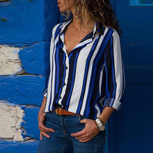 Sexy V-Neck Striped Print Women Blouse Long Sleeve Button Work Wear Female Shirts 2019 Summer Style Tops Casual Beach Clothing