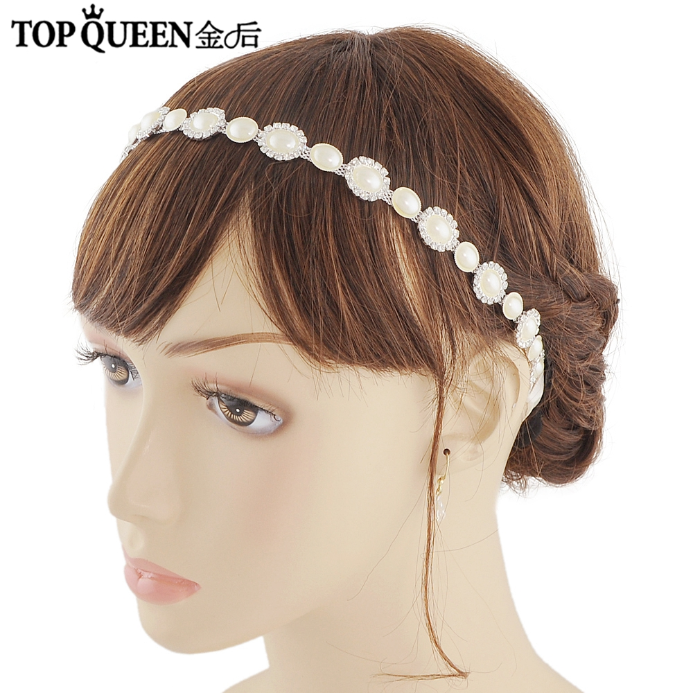 TOPQUEEN H300 Romantic Wedding Hair Accessories Shining Pearl & Crystal Hair Crown Bridal Headband Party Jewelry Hot Sale
