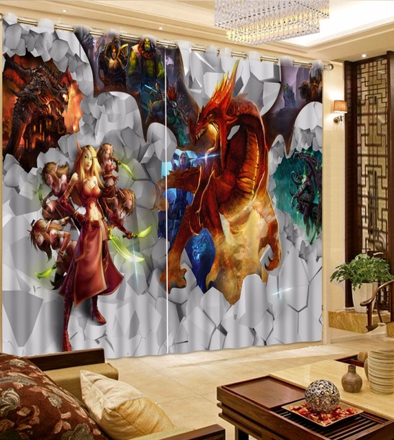 Children Room Curtains Modern Window 3D Curtain For Living Photo Game Ghosts Kitchen