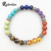 b33d33ec47bd Ruberthen diseñador Yoga pulsera 7 chakra Healing cristales joyería de  piedra natural pulsera equilibrio emocional pulsera