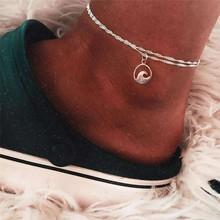 Double Layer Simple Wave Anklets Bracelets For Female Chic Silver Color Alloy Anklets Chain Wedding Gifts Leg Bracelet цена