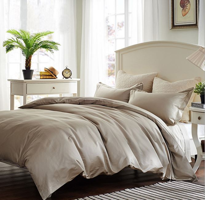 100 egyptian cotton 800 tc europe style bedding set king queen size light brown grey color 4. Black Bedroom Furniture Sets. Home Design Ideas