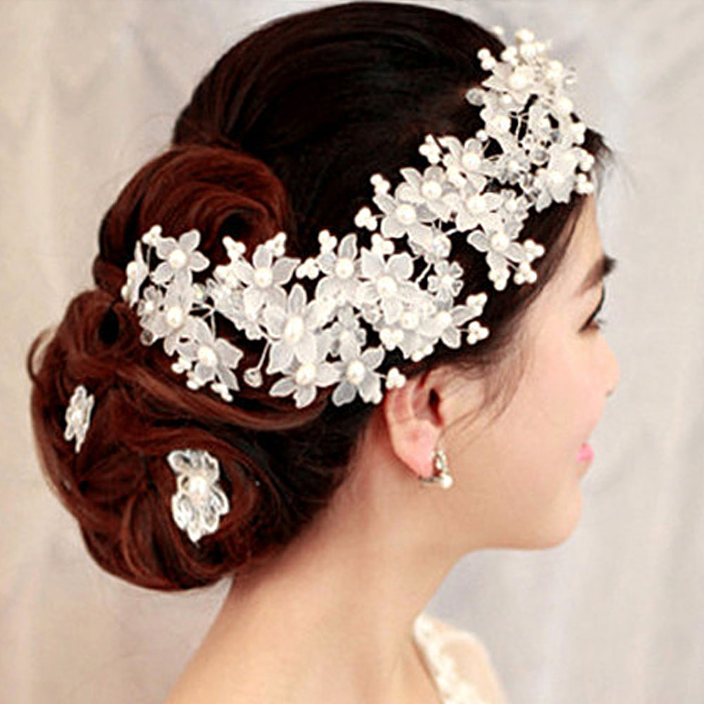 Crystal Pearl Flower Barrettes Bride Headband Handmade Hairpin Korean Bridal Tiara Headpiece Hair Jewelry Wedding Accessories SL