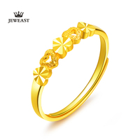 FZ 24k Gold Ring Female Heart Simple Exquisite Women Gift Party Trendy Fine Jewelry Wedding Rings Bands 2020 Engagement Classic