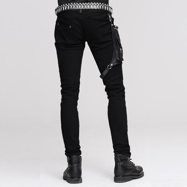 Devil Fashion Punk Leather Pants Men With Hip Holster Pocket Casual Vintage Halloween Stitched Casual Pants Men Tactical Pants 3