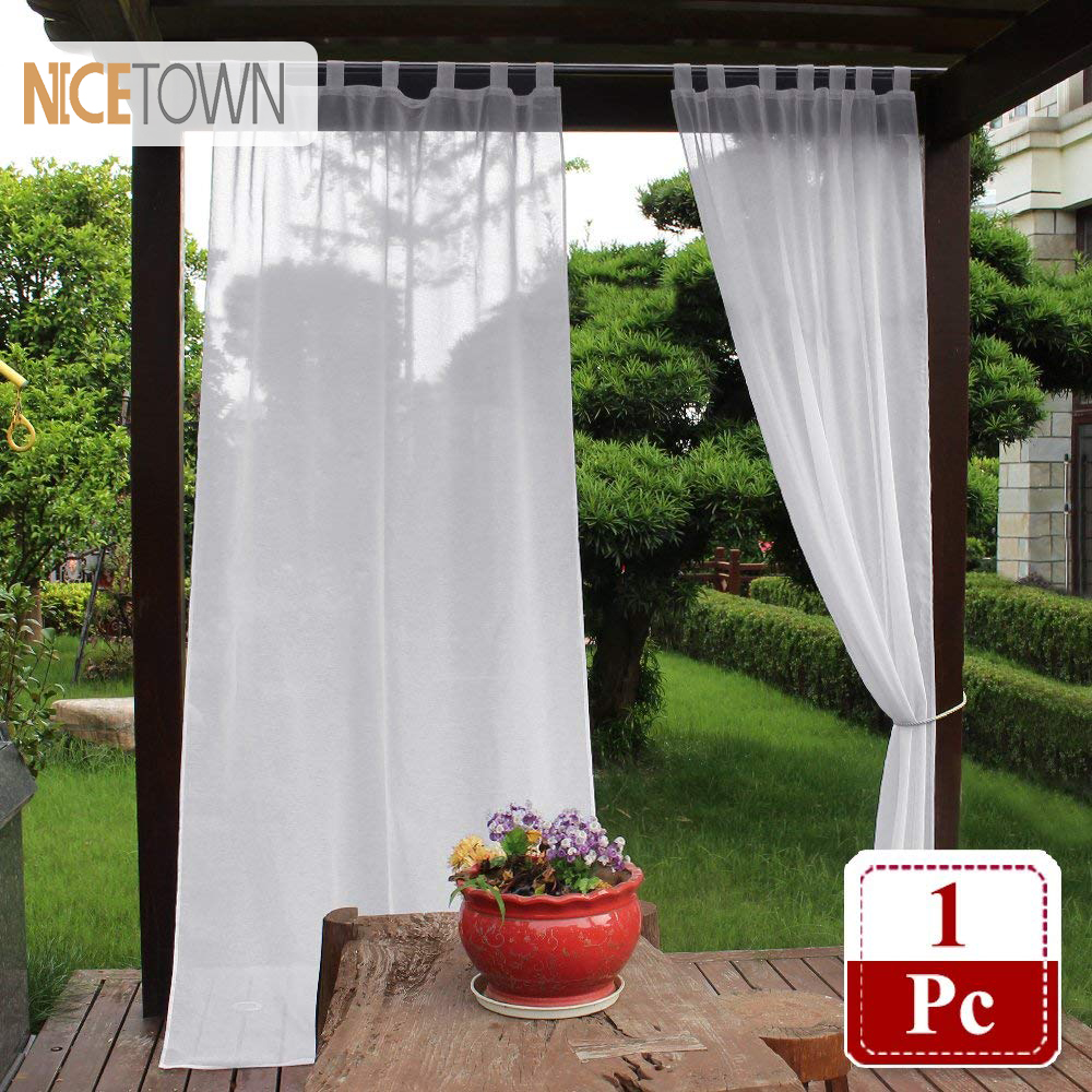 Sheer Outdoor Curtain Elegant Tab Top Waterproof Semitranspa Voile Faux Linen Drapery For Patio With Bonus Rope One Piece
