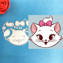 1PCS Lovely Cat Marie cutting die+1PCS carft Tag Stencil For DIY Scrapbook Paper Card Decorative Craft Embossing Die Cut