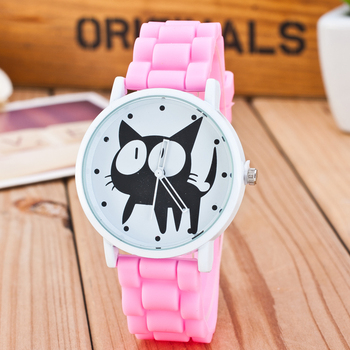 New Famous Brand Cute Cat Watch Children Cartoon Jelly Quartz Watch Kids Casual Silicone Watches Relogio Clock Wristwatches Hot relogio new cartoon leather quartz watch children watch orologi princess elsa anna watches boy girl gift clock relojes zegarki
