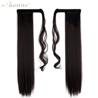 SNOILITE 26 Long Ponytail Clip In Pony Tail Hair Extensions Wrap On Hairpieces Straight Hairstyles