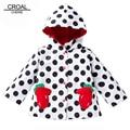 80-130cm Flower Waterproof Kids Girls Jacket Children Clothing Outerwear & Coats Dot Hooded Girls Trench Coat Windbreaker