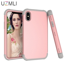 Shockproof Phone Cases For iPhone X XS Max XR 8 7 6 6s Plus Case 3 in 1 Rubber+PC Hybrid Anti-Knock Protective Cover+Gifts