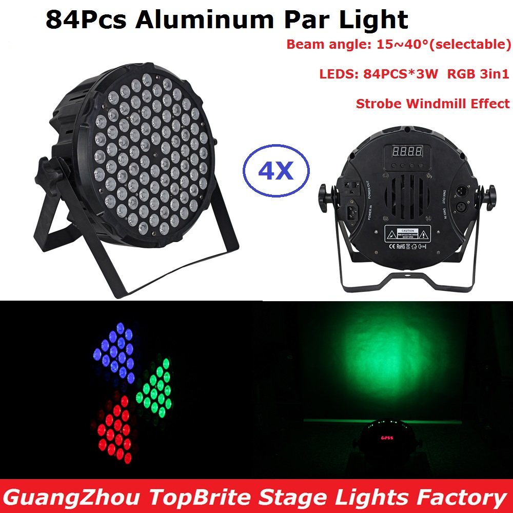 4 Unit New Design 84X3W RGB 3 Color LED Flat Par Light DMX Stage Par Cans For KTV Disco Nightclubs With Strobe Windmill Effects