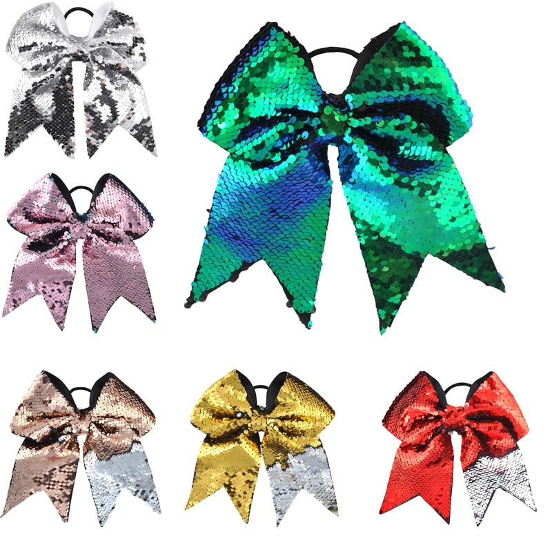 1PC Large 8 Inch Aksesorë për Flokët Gratë Vajzat Vajzat Glitter Sequins Peshore Flokët e Harkut Flokët Elastike të Flokëve Mbajtës Poni