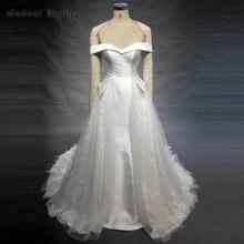 Elegant A-Line Off the Shoulder Lace Wedding Dresses 2018 New Arrival Formal Women Bodice Long Bridal Gowns vestido de noiva