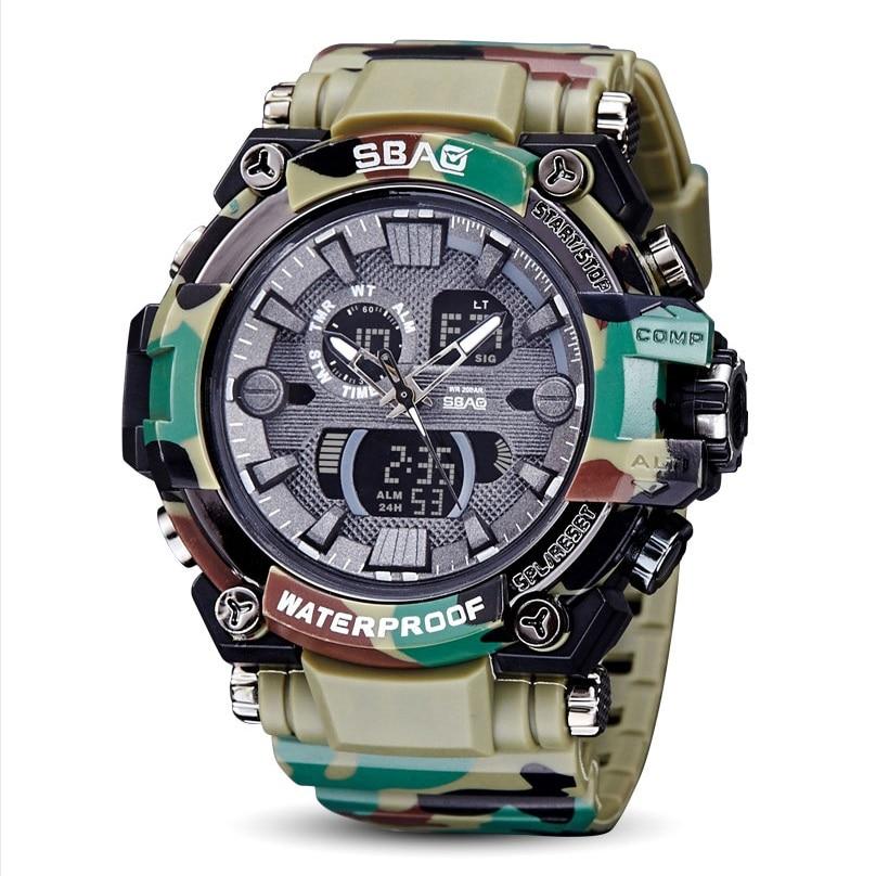 SBAO Новинка 2017 года электронные часы для мужчин студент Водонепроницаемый Дайвинг светящиеся Часы многофункциональный электронный спортив…