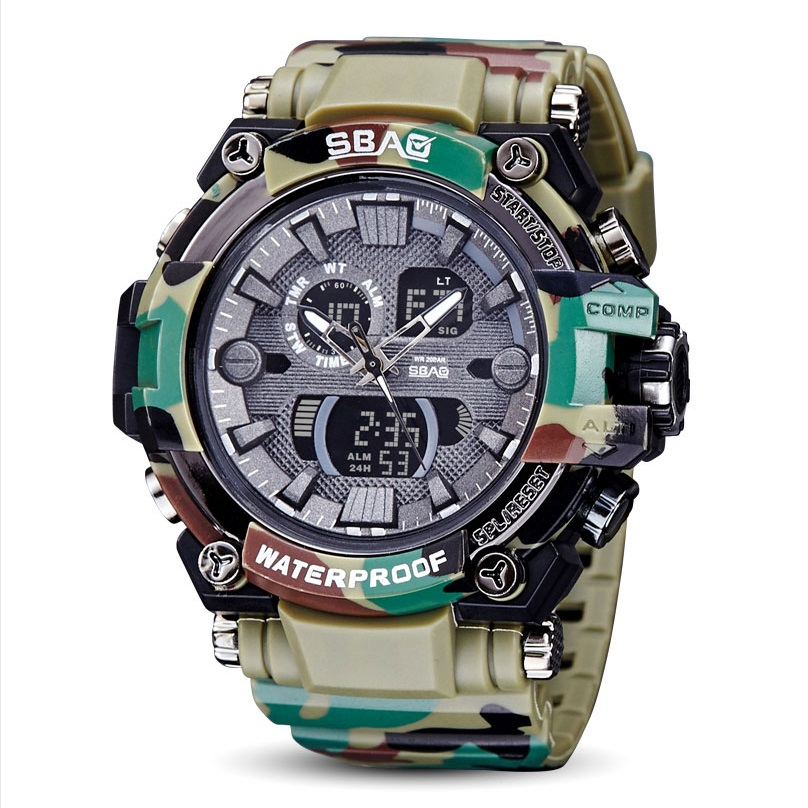 SBAO 2017 New Electronic Watch for Male Student Waterproof Diving Luminous Watches Multi - Functional Electronic Sports Watch muhsein sports watch tidal current male brief teenage waterproof luminous outdoor submersible electronic watch