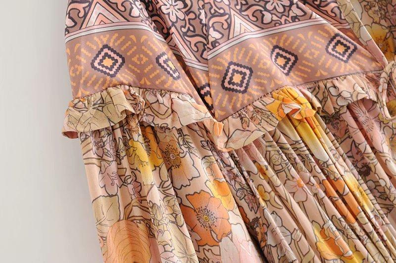 V-Neck Sasches Ruffles Floral Print Boho Dress 8