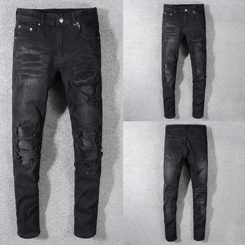 2019 New Fashion Designer Jeans Men Straight Black Color Men Jeans Ripped Jeans,Hole Zipper Fly Casual Men Pants цена 2017