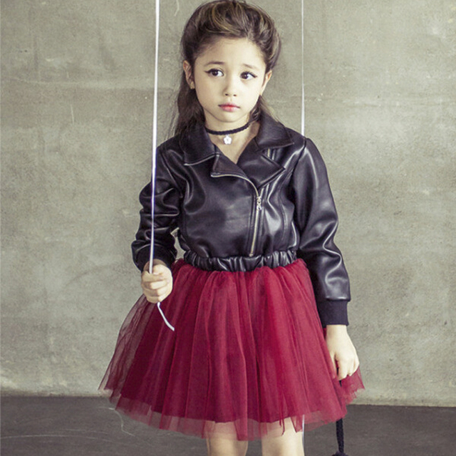 932970359139 2015 New fashion arrived winter cool baby girls unique leather tulle ...