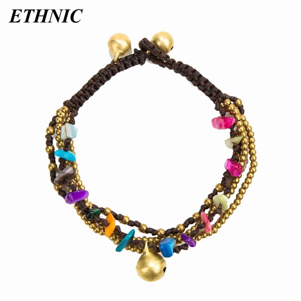 מותג אתני Boho חרוזים צבעוניים Multilayers שרשרת זהב צבע חרוזים צמידי קסם פעמון לנשים אופנה צמיד