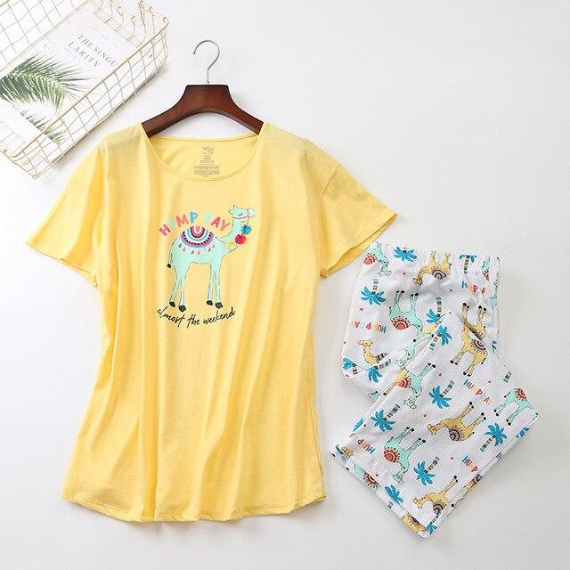 새로운 2019 여름 여성 잠옷 면화 귀여운 인쇄 알파카 잠옷 세트 탑 + 카프리 탄성 허리 플러스 크기 3XL 라운지 pijamas S92902