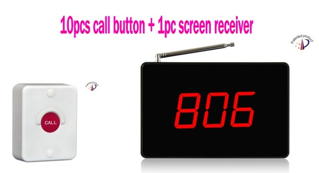 Bathroom, Toliet Wireless Calling System, 10pcs Waterproof Call Button, 1pc  Screen Receiver,