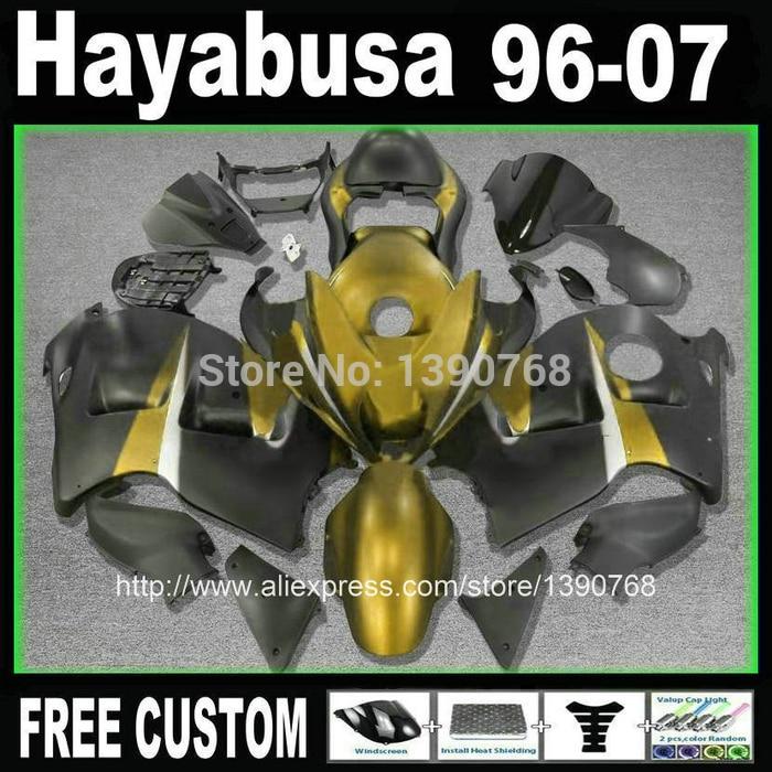 Free customize fairings bodywork for hayabusa suzuki GSXR1300 1996 2007 golden black fairing kit GSX1300R 96 07 FB15