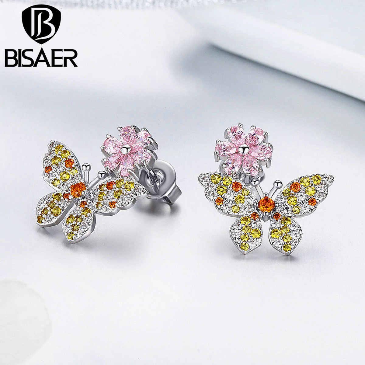 BISAER 2019 新しい高級ピンククリスタルデイジーの花の黄色ジルコンの蝶のスタッドのイヤリング女性の韓国イヤリングジュエリー WEYE190