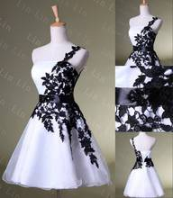 Cocktail Dresses 2015 White/Black Lace One Shoulder Sleeveless A Line Mini Organza Stock Dress