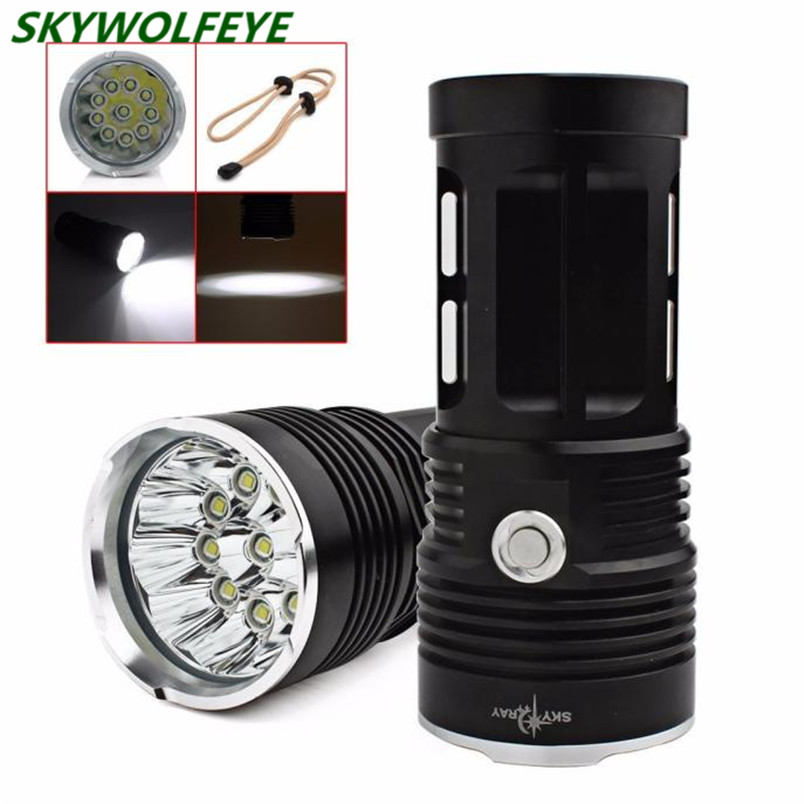 25000LM SKYRAY 10 x CREE XM-L T6 LED Flashlight Torch 4 x 18650 Hunting Lamp Self Defense Hard Light Free Shipping #NO18 skyray 20000 lumens 90w led flashlight 5 modes 9x cree xm l t6 led bike hunting torch with 4 x 18650 battery and charger