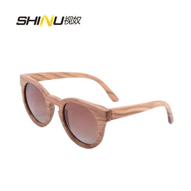 d8ecc47148 Gafas de sol de madera polarizadas de bambú gafas de sol Retro Vintage  redondas para mujer