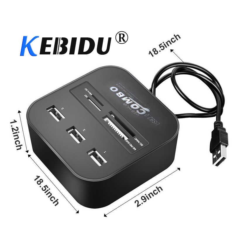 Kebidu 3 منفذ USB محور قارئ بطاقات USB متعدد المنافذ الفاصل 7 في 1 دعم مايكرو TF SD M2 MS SDHC MMC بطاقة USB HUB 2.0 لأجهزة الكمبيوتر المحمول