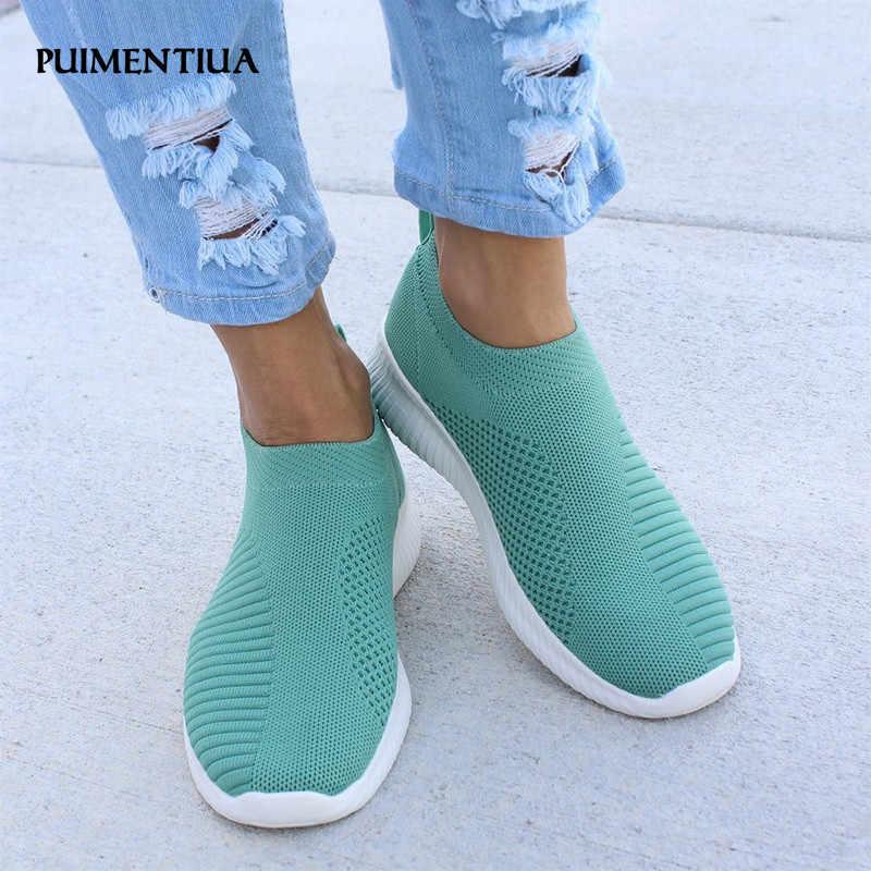 ผู้หญิงแฟลตรองเท้าผู้หญิงฤดูร้อนรองเท้าผู้หญิงรองเท้าสบายๆถักถุงเท้ารองเท้าผ้าใบสตรี Loafers รองเท้าผู้หญิงรองเท้าแตะผู้หญิง