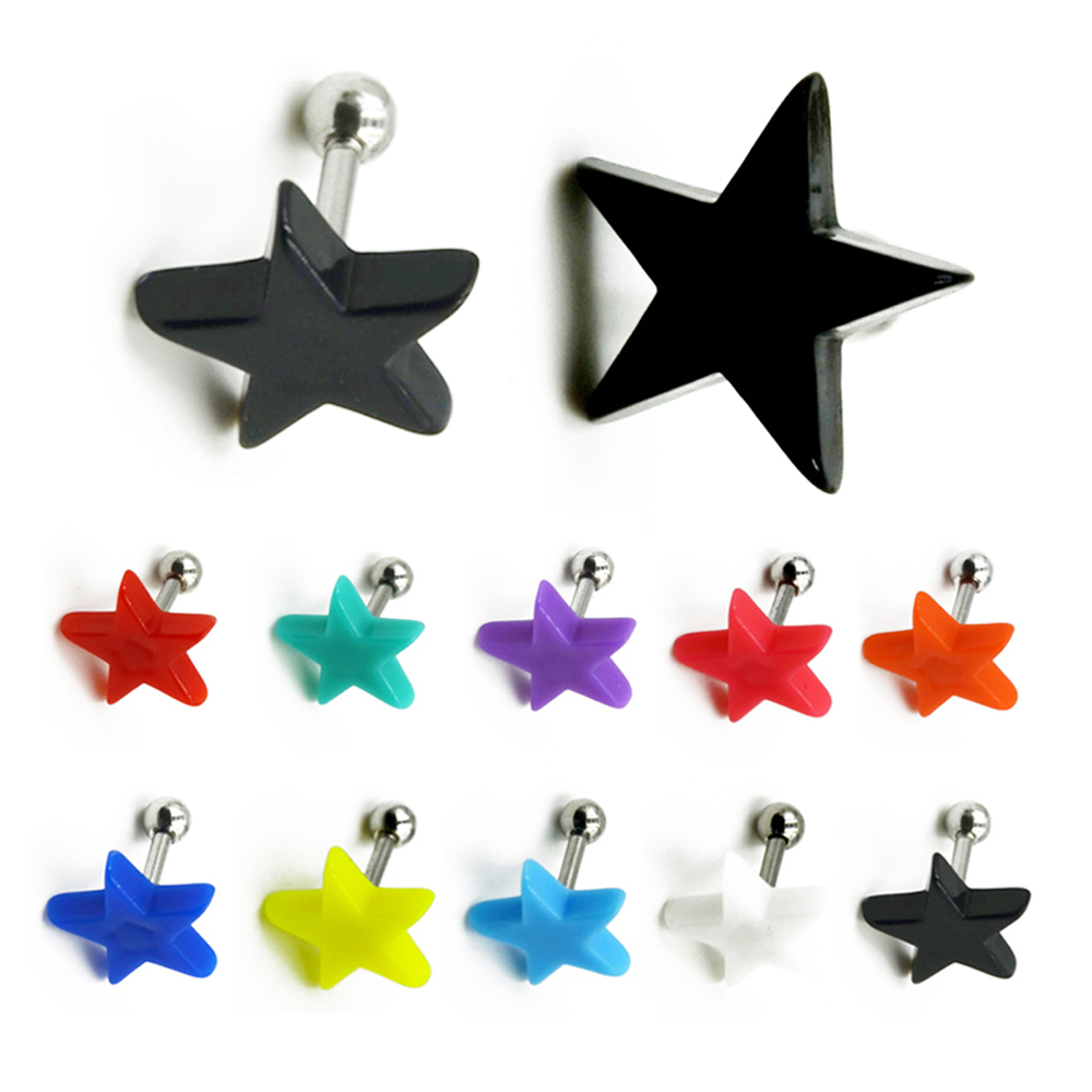 Acrylic Star Ear Stud Earring Cartilage Tragus Helix Piercing Body  Jewelry(china (mainland)