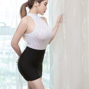 Image 1 - Sexy Women Tight Pencil Cute Skirt Ice Silk See Through Micro Mini Skirt Transparent Night Club Skirt Fantasy Erotic Wear F7