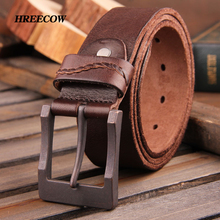100% natural genuine leather pin buckle waistband men belts luxury male cow leather jeans belts cintos ceinture