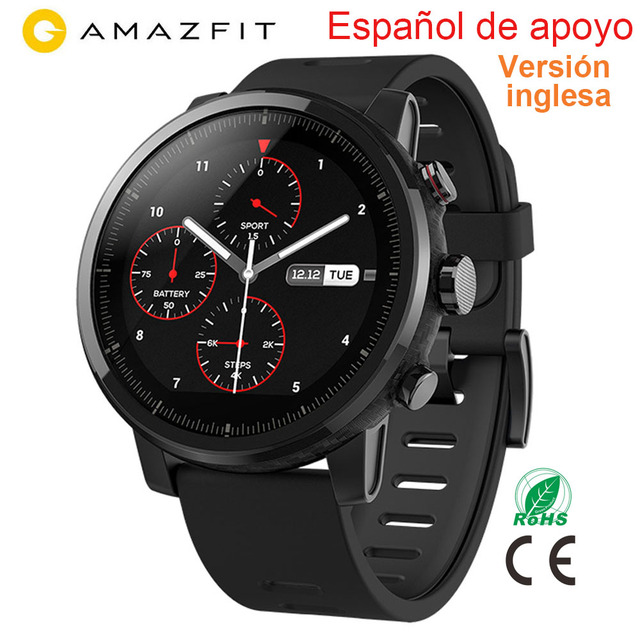 Versión inglés Xiaomi Huami Amazfit Stratos reloj inteligente con monitor de frecuencia cardíaca GPS 5ATM impermeable