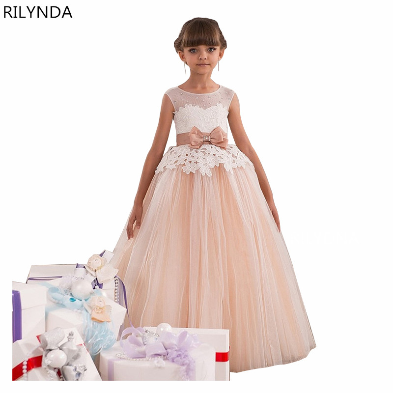 New Girl Communion Dress White Formal Ankle Length Bow Sash Ball Gowns Sleeveless O-Neck Robe De Mariage 2018 Enfant Longue