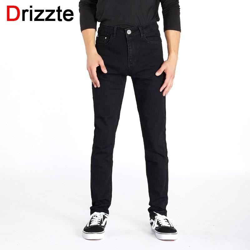 Drizzte Men Classic Black Denim Jeans Stretch Slim Fit Denim Plus Size 36 38 40 42 44 Full Long For Men's Jean цены онлайн