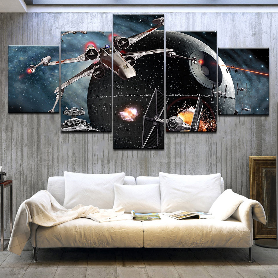 Printed HD Paintings Modular Posters Home Decor Modern 5 Panel Printed Star Wars Movie Spaceship Wall Art Canvas Picture Artwork image