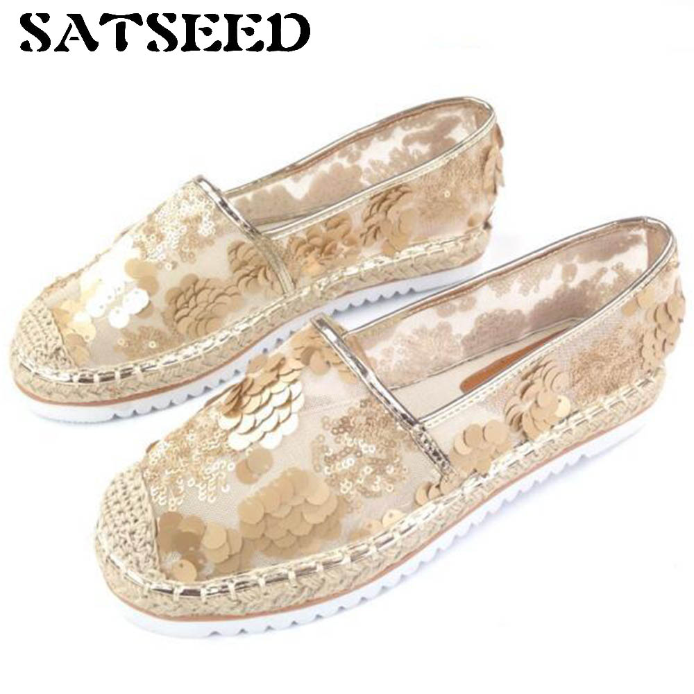 Spring Women Flat Shoes Woven Lace Beads Fisherman Casual Shoes Slip-on Bling Bling Shoes Transparent Air Mesh Rubber Sole New minika breathable mesh lace shoes women thick bottom shallow mouth women casual shoes slip on flat shoes women high quality