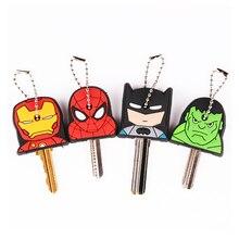 Милый супер герой аниме ключ крышка силиконовый Человек-паук Бэтмен Брелок для ключей с Халком кольцо для женщин Porte Clef Железный человек брелок экзотический