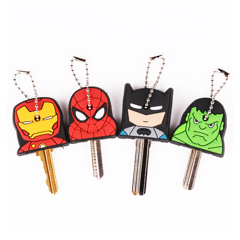 Cute Super Hero Anime Key Cover Cap Silicone Spiderman Batman Hulk Keychain Ring Women Porte Clef Iron Man Key Chain New Exotic