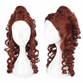 Adult Belle Wig Beauty and the Beast Princess Belle Cosplay Wig Brown Curly Heat Resistant Fiber Halloween Costume Party Wig