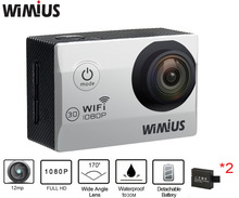 Wimius Wifi Action Camera Sport Camara Full HD 1080P 30fps 2.0 inch 12MP Go Waterproof 40M pro Mini Video Helmet Cam 2 batteries
