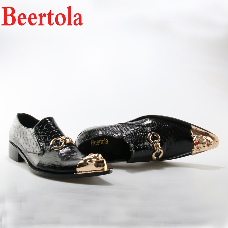 Men's Shoes Shoes Beertola 2018 Designers Fashion Men Shoes Metal Gold Pointed Toe Leather Shoes Chain Crystal Dress Wedding Business Shoes Man Warm And Windproof