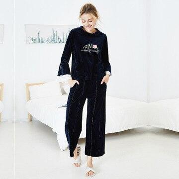 Daeyard Women Luxury Velvet Sleepwear   Pajamas   Autumn Winter Shirt And Trousers   Pajama     Sets   Embroidery Lace Trim Pyjamas Homewear