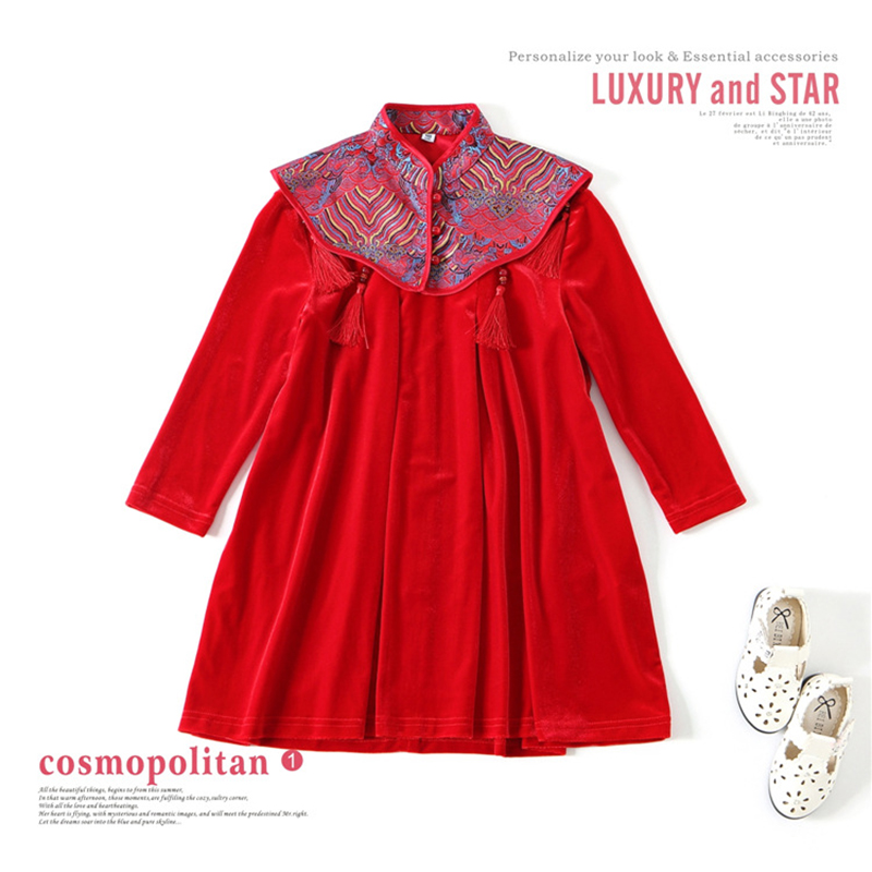 Girls Dress Children Cheongsam Style Long Sleeve Party Vestido Chinese Style Festivo Clothing Velvet High Quality for 3y-4y dress coat traditional chinese style qipao full sleeve cheongsam costume party dress quilted princess dress cotton kids clothing