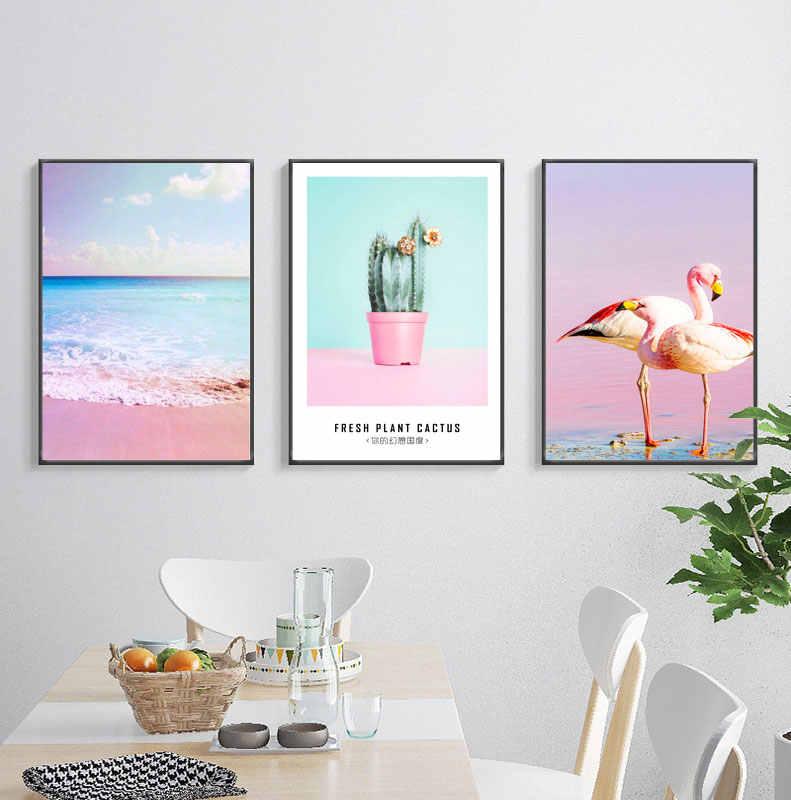 Nordic Pink Flamingo Sea Beach Posters And Prints Green Plant Canvas Painting Unframed Cuadros Wall Pictures For Home Decoration